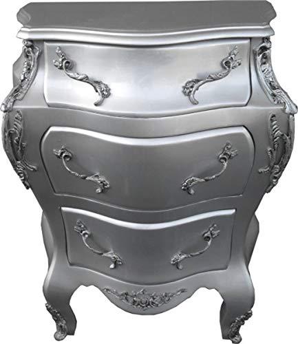 Casa Padrino Barock Kommode Silber B68 H79.5 cm - Handgefertigte Möbel