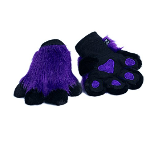 Pawstar Paw Mitts Furry Animal Hand Paws Costume Gloves Adults - Purple