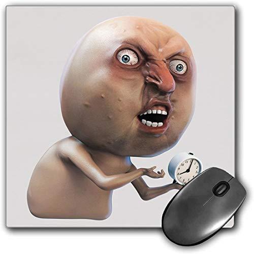 Mauspad-Spielfunktion Humor Dekor Dicke wasserdichte Desktop-Mausmatte Warum du Mich Nicht weckst Internet Meme mit klagendem verschlafenem Gesicht und Uhrenbild,Tanrutschfeste Gummibasis