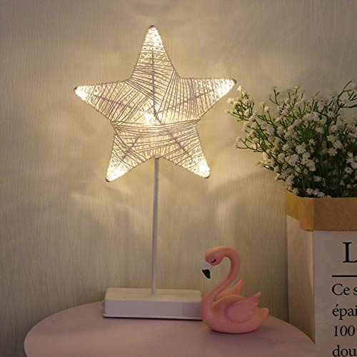 GUOCHENG 3D Star Shaped Motif LED Lights Signs Decorative Mood Light for Nursery Bedroom Birthday Wedding Valentine's Day USB and Battery Power(White)