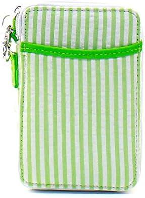 Seersucker Stripe Small Quilted Mini Wallet Wristlet Lime Green