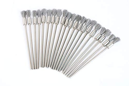 20Pack 8mm Stainless Steel Wire End Brush Pen Shape 1/8 Inch Shank for Rotary Tool Accessories