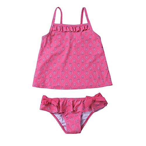 HO-TBO Meisjes Twee Stuk Badpakken, Kleine Meisjes 2-Stuks Ruche Badpakken Zomer Strand Sport Print Bikini Badpak Blauw Makkelijk schoon te maken