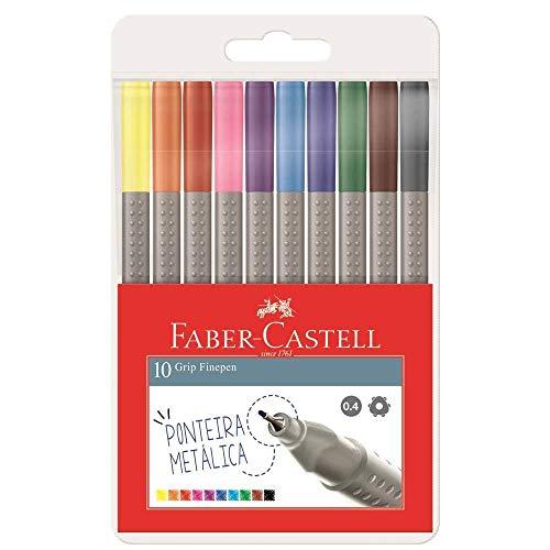 Estojo Caneta Ponta Fina 0.4mm, Faber-Castell, FPG/ESTOJO10, Gripe Fine Pen, 10 Cores