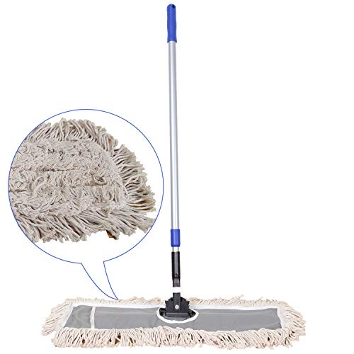 Product Image of the JINCLEAN™ 24' Industrial Class Cotton Floor Mop | Dry to Attract dirt, dust Or Hardwood Floor Clean, Office, Garage Care, Telescopic Pole Height Max 59' (24' x 11' Cleaning Path Industrial Mop)