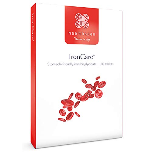 IronCare | Healthspan | 120 Tablets | with Vitamin C | Stomach Friendly | Combats Tiredness & Fatigue | Vegan Formula