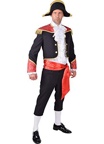 narrenkiste M218233-L - Disfraz de torero de espolvoreador para hombre, talla L = 56, color negro y rojo