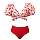 Meioro Conjuntos De Bikini para Mujer Traje De Baño De Cintura Alta Conjunto Bañador con Tiras Cruzadas Ropa De Playa De 2 Piezas De Manga Abullonada para Mujer Bikini Sets Tankini (Rojo, S)