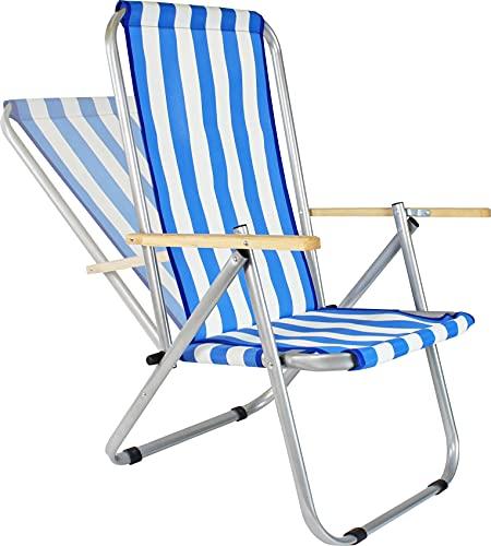 EIN Campingstuhl aus Aluminium und PVC-Netz, belastbar bis zu 150 kg, EIN leicht zusammenklappbarer Liegestuhl