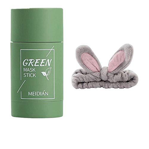 Chilits 1 Pcs Green Tea Purifying Clay Stick Mask + 1 Pcs Lapin Oreille Maquillage Bandeau, Masque de Points Noirs de thé Vert et Anti-acné, Améliore la Peau pour Les Femmes Hommes