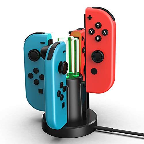 Tanouve Dock para Nintendo-Switch, 4 En 1 Cargador para Joy-con Cargador para Mando Nintendo-Switch Estación de Carga para Mando NintendoSwitch con Indicador LED