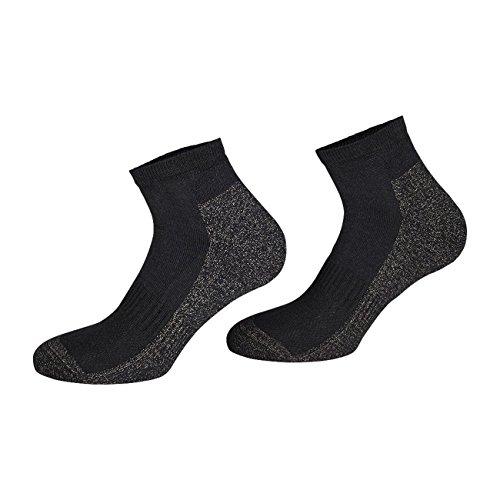 TippTexx24 2 oder 4 Paar Kurze antibakterille Silber Socken mit Anti-Loch-Garantie (Sneakersocken Kurzschaftsocken),X-Static Plus Coolmax (Schwarz - 4 Paar, 43-46)