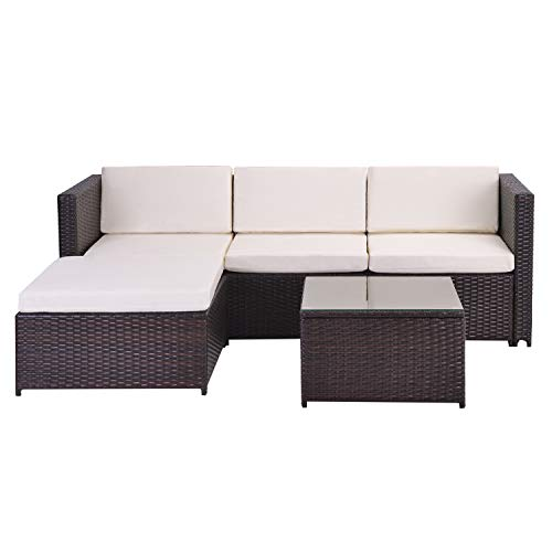 Belissy Sofá esquinero de ratán, muebles de jardín de polirratán, conjunto de asientos, conjunto de sofá, muebles de jardín, sofá esquinero, mesa de salón con placa de cristal, color marrón