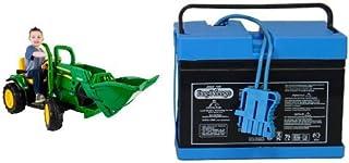 Peg Perego John Deere Ground Loader Ride On, Green with 12 Volt Battery Bundle