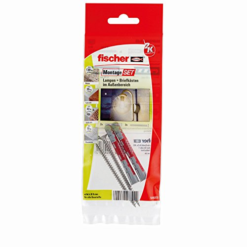 fischer MontageSet Lampen und Briefkästen im Außenbereich B, mit 2 x Dübel DUOPOWER 8 x 65, 2 x Spanplattenschraube 5,0 x 80 A2 rostfrei - 1 Stück - Art.-Nr. 540272