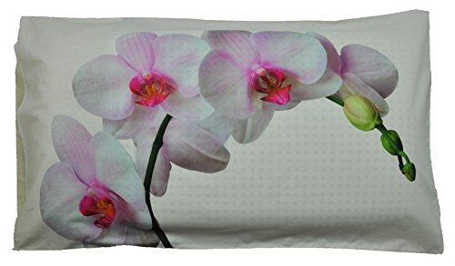 CASA TESSILE Federa Cuscino Letto Stampa Fotografica Orchidea