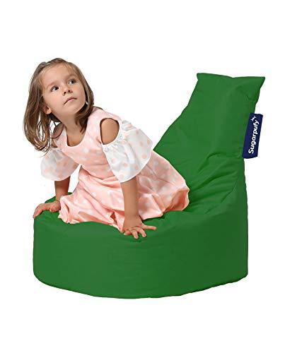 Sugarpufy Sitzsack mit Lehne - Bequemer Bean Bag mit Rückenlehne als Sitzkissen & Sessel mit Füllung - Reißverschluss zum Befüllen - Wasserfester Bezug - Indoor & Outdoor für Kinder - Grün