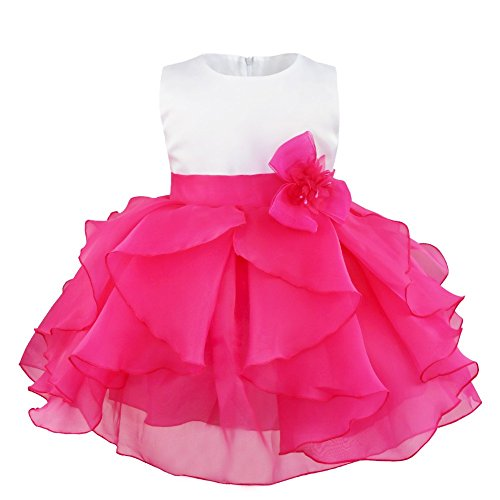iEFiEL Abiti da Battesimo Neonata Bimba Vestito da Cerimonia Matrimonio Abito da Compleanno Sera Sposa Festa Vestitino con Fiore Tutu Multistrati 3 Mesi-3 Anni Rosa Rosso 6-9 Mesi