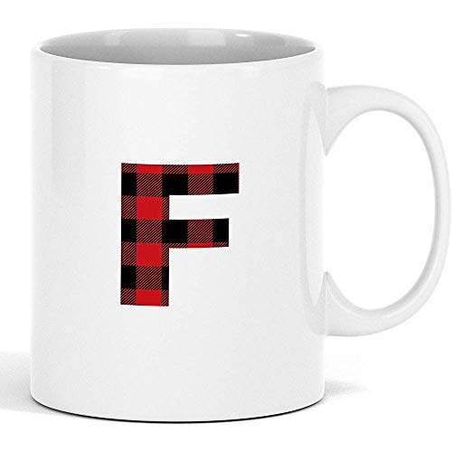 Egoa Mok van keramiek F Monogram Letter Red Plaid patroon White Mug Great Trendy Christmas Ceramic And Perfect Xmas Surprise Gift Mok Coffee Cup geschenk Gepersonaliseerd Wit 330 ml