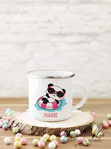 Panda Beber Cup Camping Regalo para Niños Linda Campfire Taza Personalizada Niños Taza Niño Niño Taza Regalo de Cumpleaños Personalizado Nombre Taza Esmalte