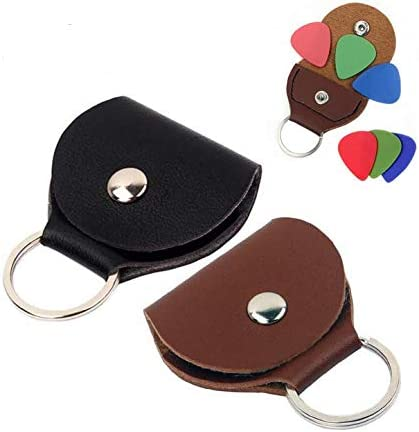 Guitar Pick holder Keychain Case Black Brown Pack of 2 product image