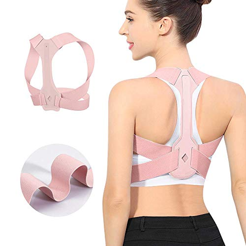 Updated Posture Corrector for Men and Women,Adjustable Upper Back Brace for Clavicle Support and Providing Pain Relief from Neck Shoulder Upright Straightener Comfortable (Pink) (S 25-30 lnch)