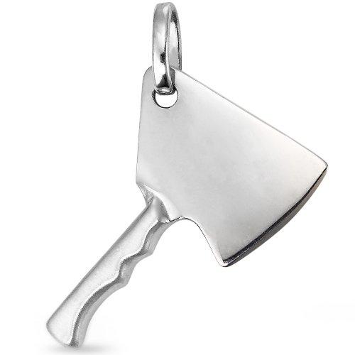 Anhänger Silber Metzgerbeil, Anhängeröse: 2.5 mm, Beschichtung: patiniert, Breite: 18 mm, Länge (mm): 25 mm, Motiv: Metzgerbeil, Oberfläche: mattiert/poliert, Zielgruppe: OPUS