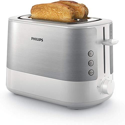 Philips HD2637/00 Toaster (7 Stufen, Brötchenaufsatz, Stopp-Taste, 1000 W) weiß/edelstahl