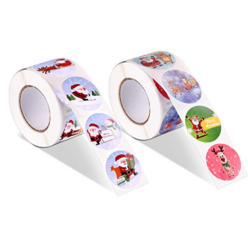 1000 PCS Merry Christmas Stickers Rolls, Holiday Stickers Roll Gift Tags for Christmas Envelope Seal Stickers Card Seals Self-Adhesive Decorative Present Stickers, 1.5""