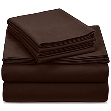 Pinzon Signature 190-Gram Cotton Heavyweight Velvet Flannel Sheet Set - Queen, Italian Roast