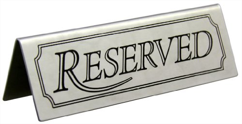 """New Star Foodservice 26900 Stainless Steel Tent Sign (Reserved), 4.75""""x 1.75"""", Set of 6"""