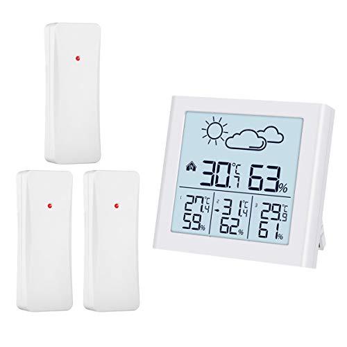 ORIA Thermometer Hygrometer, Innen Außen Thermometer mit 3 Außensensor, Wettervorhersage, Hintergrundbeleuchtung, Min/Max Anzeige, ℃/℉ Schalter für Zuhause, Büro, Babyzimmer - Weiß