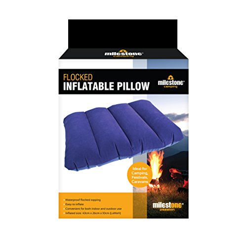Milestone Camping Flocked Inflatable Pillow ~ Blue ~ 88070