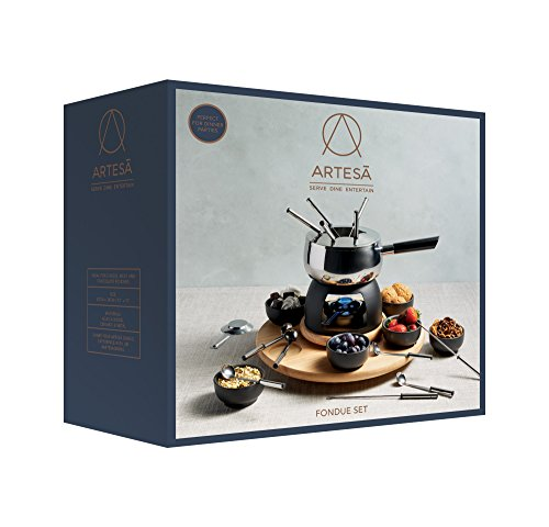 Artesà Deluxe Fondue Set with Lazy Susan Turntable in Gift Box, Stainless Steel, 22 Piece Dinner Party Set