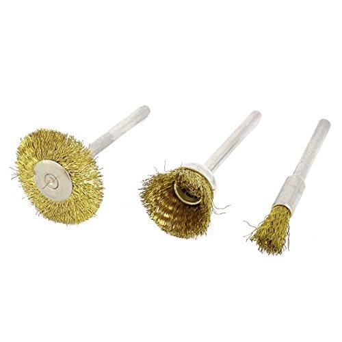 Aexit 3mm Industriebürsten Schaft Durchmesser Messing Tone Stahldraht Polierbürste Rad Industriebürstensätze 3in 1