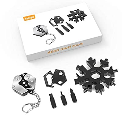 Aerb EDC Keychain Multitool Kit Snowflake Multi Tool - Key Chains for Mens/Gadgets for Men/EDC Gift Set/Survival Gear Kit + Screwdriver Set + Wrench + Cutter + Bottle Opener, Great Gift Tools for Men from Aerb
