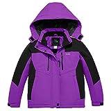 ZSHOW Chaqueta de Esquí Impermeable para Niñas Abrigo de Nieve de Invierno Cálido Chubasqueros de Lana Púrpura 140-146
