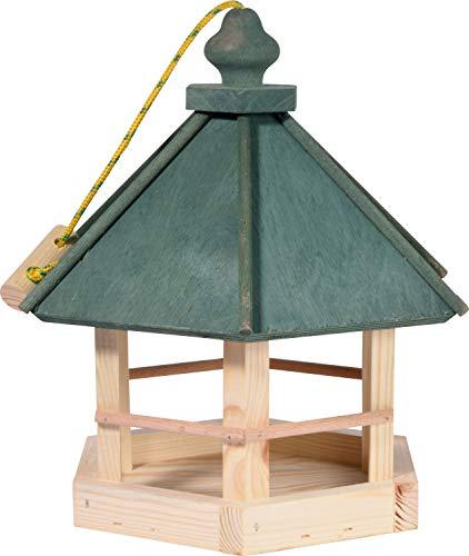 dobar 90038FSCe Klassisches Vogelhaus aus Holz zum Aufhängen 6-eckig, 29 x 32 x 36 cm, grün - 3