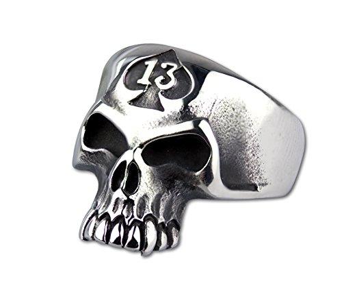 Ring Totenkopf 13 Skull Totenkopfring aus Edelstahl 2,3cm Biker (59 (18.8))