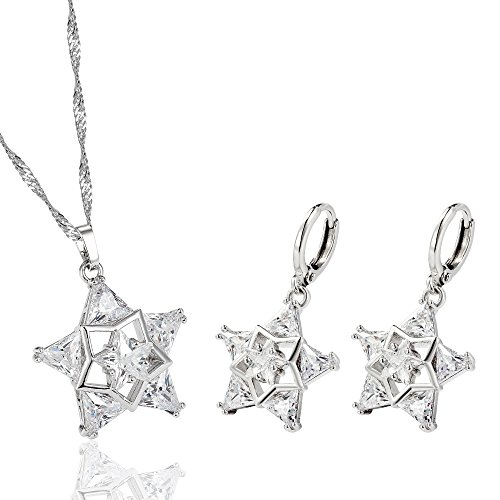 Silver Women Star Earrings and Pendant Set Fashion Jewelry Set for Women