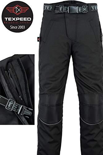 Texpeed - Regenhose für Motorrad/Motorroller mit durchgehendem Reißverschluss am Bein - Wasserdicht - Schwarz (30W / 30L)