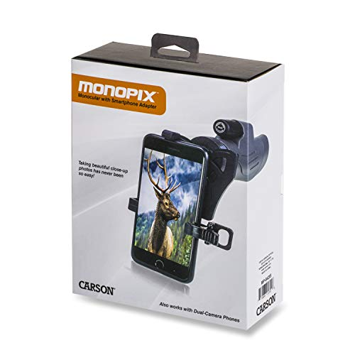 Carson MonoPix Smartphone Digiscoping Adapter Bundle with 8x42mm Waterproof Monocular for Hunting, Bird Watching, Sight Seeing, Sporting Events, Wildlife Viewing, Target Shooting & More (MP-842IS)