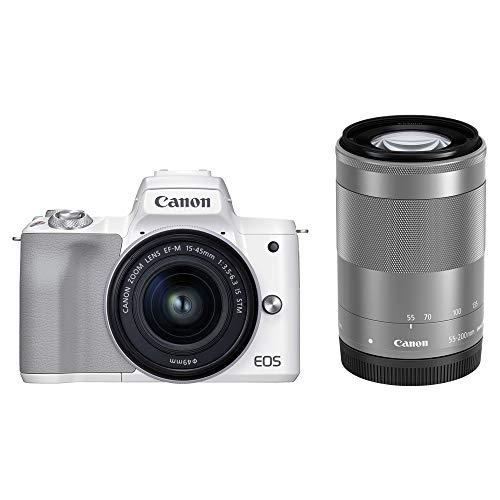 Canon ミラーレス一眼カメラ EOS Kiss M2 ダブルズームキット ホワイト KISSM2WH-WZK