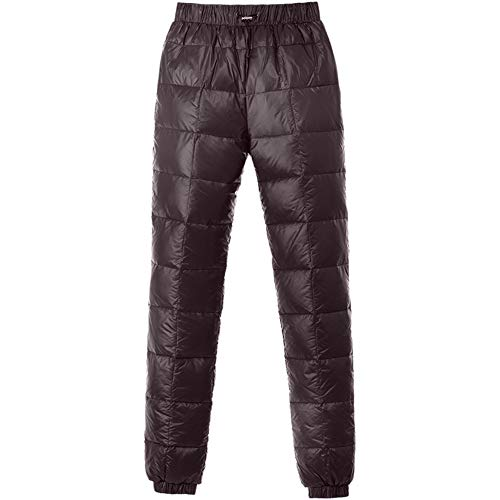 Tapasimme Men's Winter Warm Loose Utility Down Pants Sassy High Waisted Nylon Compression Snow Trousers (XX-Small, Brown)