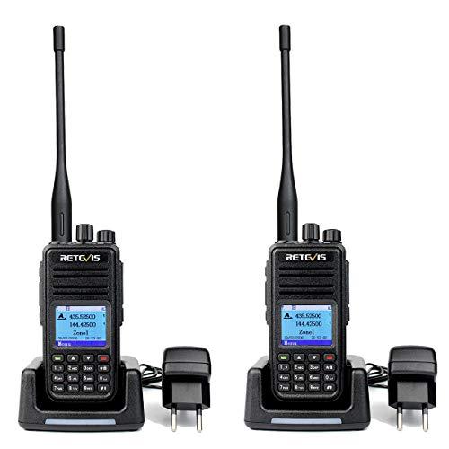 Retevis RT3S DMR Digitales Funkgeräte, 3000 Kanäle GPS DTMF Dualband Amateurfunk, Digitales/Analoges Funkgerät, Kompatibel mit MOTOTRBO DMR Radio (1 Paar, Schwarz)