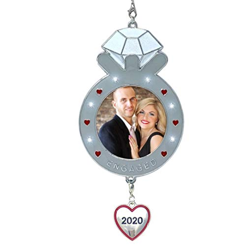 BANBERRY DESIGNS 2020 Dated Engagement Christmas Ornament-Keepsake Engagement Ring Picture Ornament- Newly Engaged Xmas Photo Ornament