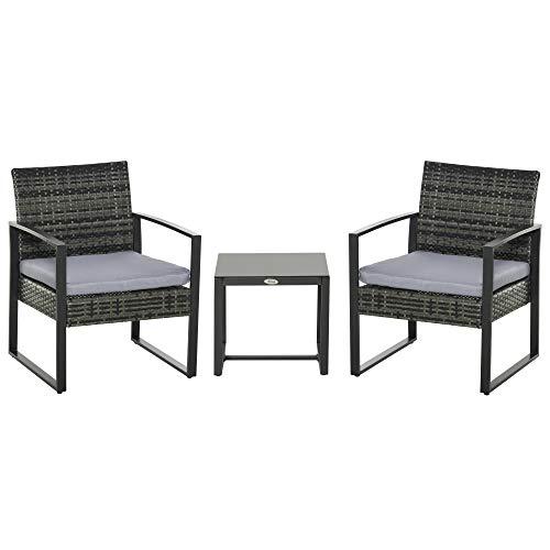 Outsunny Conjunto de Muebles de Ratán de Jardín 3 Piezas S