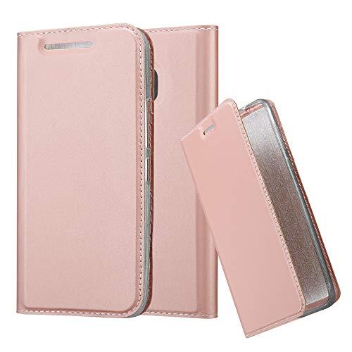 Cadorabo Hülle für HTC One M9 in Classy ROSÉ Gold - Handyhülle mit Magnetverschluss, Standfunktion & Kartenfach - Hülle Cover Schutzhülle Etui Tasche Book Klapp Style