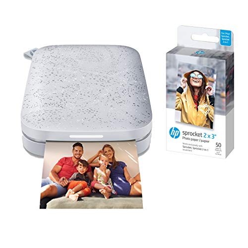 HP Sprocket Portable Photo Printer (2nd Edition) – Instantly print 2x3' sticky-backed photos from your phone – [Luna Pearl] [1AS85A] and Sprocket Photo Paper, 50 Sheets
