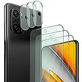 QHOHQ 3 Piezas Protector de Pantalla para Xiaomi Poco F3 con 3 Piezas Protector de Lente de Cámara,Cristal Templado Membrana,9H Dureza - HD - Anti-Arañazos - Sin Burbujas - Fácil de Instalar